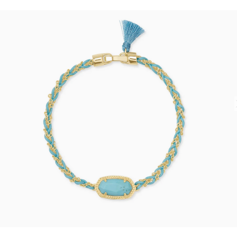 Kendra Scott Elaina Braided Friendship Bracelet in Gold Light  Blue Magnesite
