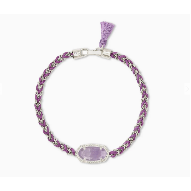 Kendra Scott Elaina Braided Friendship Bracelet in Silver Purple Amethyst