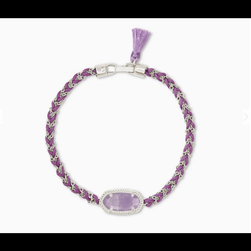 Kendra Scott Elaina Braided Friendship Bracelet in Silver Purple Amethyst