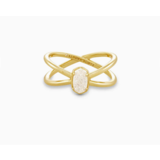 Kendra Scott Kendra Scott Emilie Double Band Ring in Gold Iridescent Drusy - Size 6