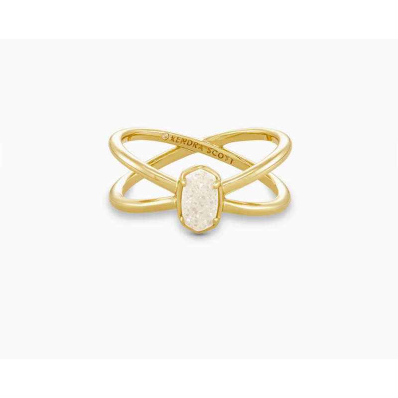 Kendra Scott Emilie Double Band Ring in Gold Iridescent Drusy