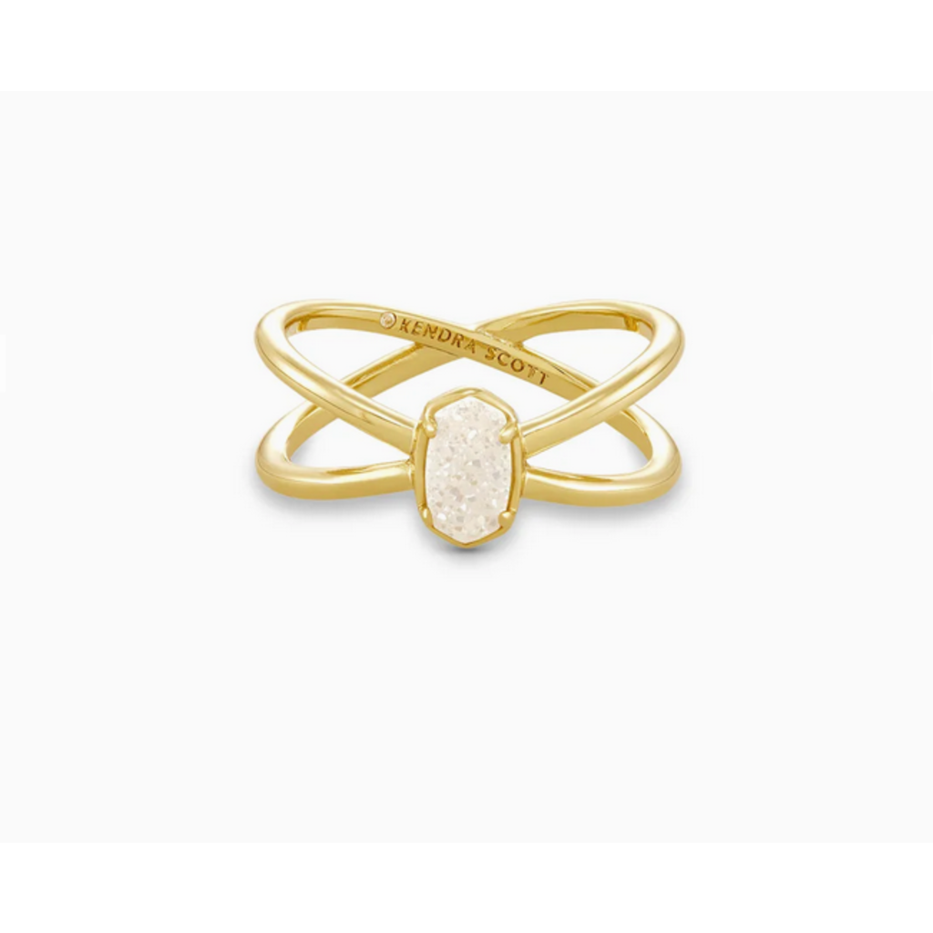 Kendra Scott Kendra Scott Emilie Double Band Ring in  Gold Iridescent Drusy - Size 7