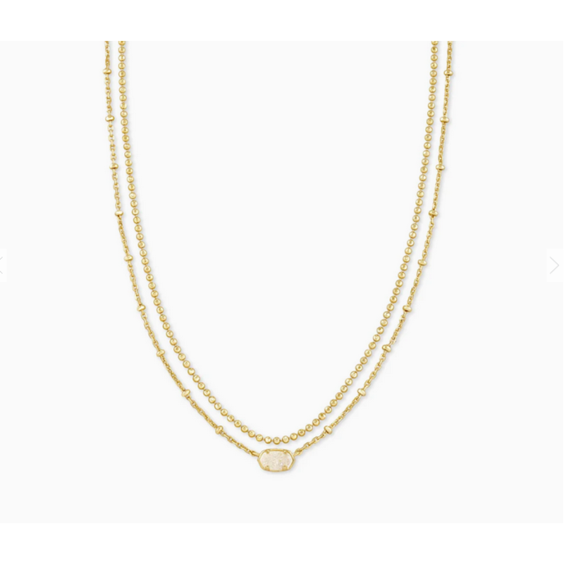 Kendra Scott Emilie Multi Strand Necklace in Gold Iridescent Drusy
