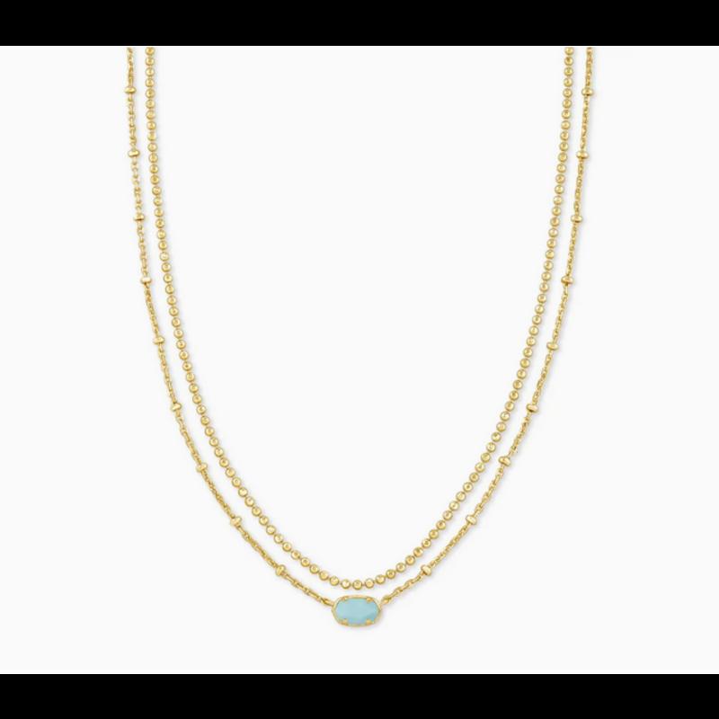 Kendra Scott Emilie Multi Strand Necklace in Gold Light Blue Magnesite
