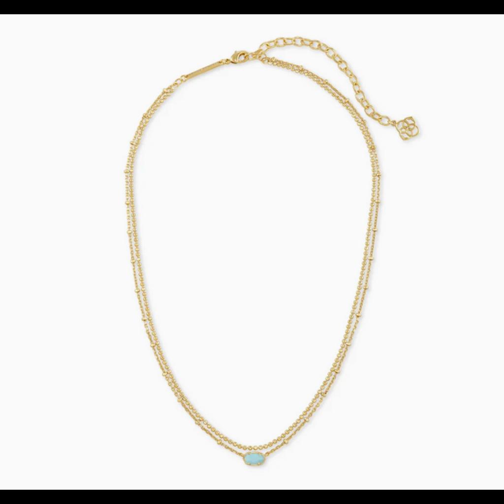 Kendra Scott Kendra Scott Emilie Multi Strand Necklace in Gold Light Blue Magnesite