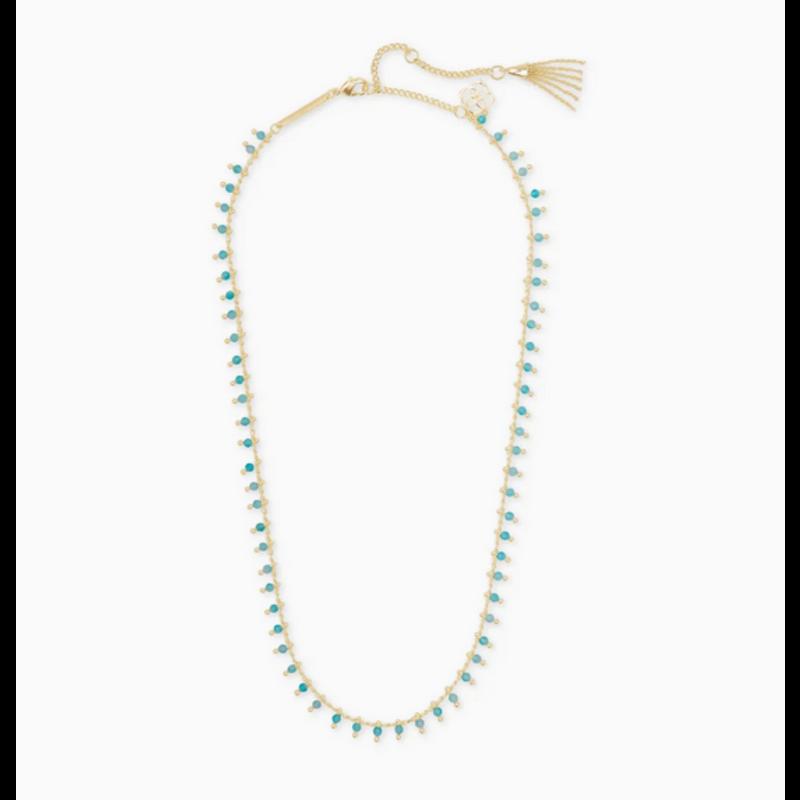 Kendra Scott Jenna Strand Necklace in Gold Teal Amazonite