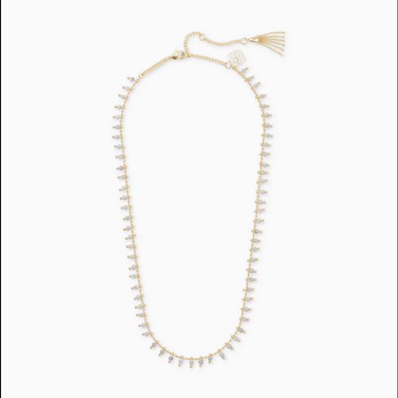 Kendra Scott Jenna Strand Necklace in Gold White Howlite