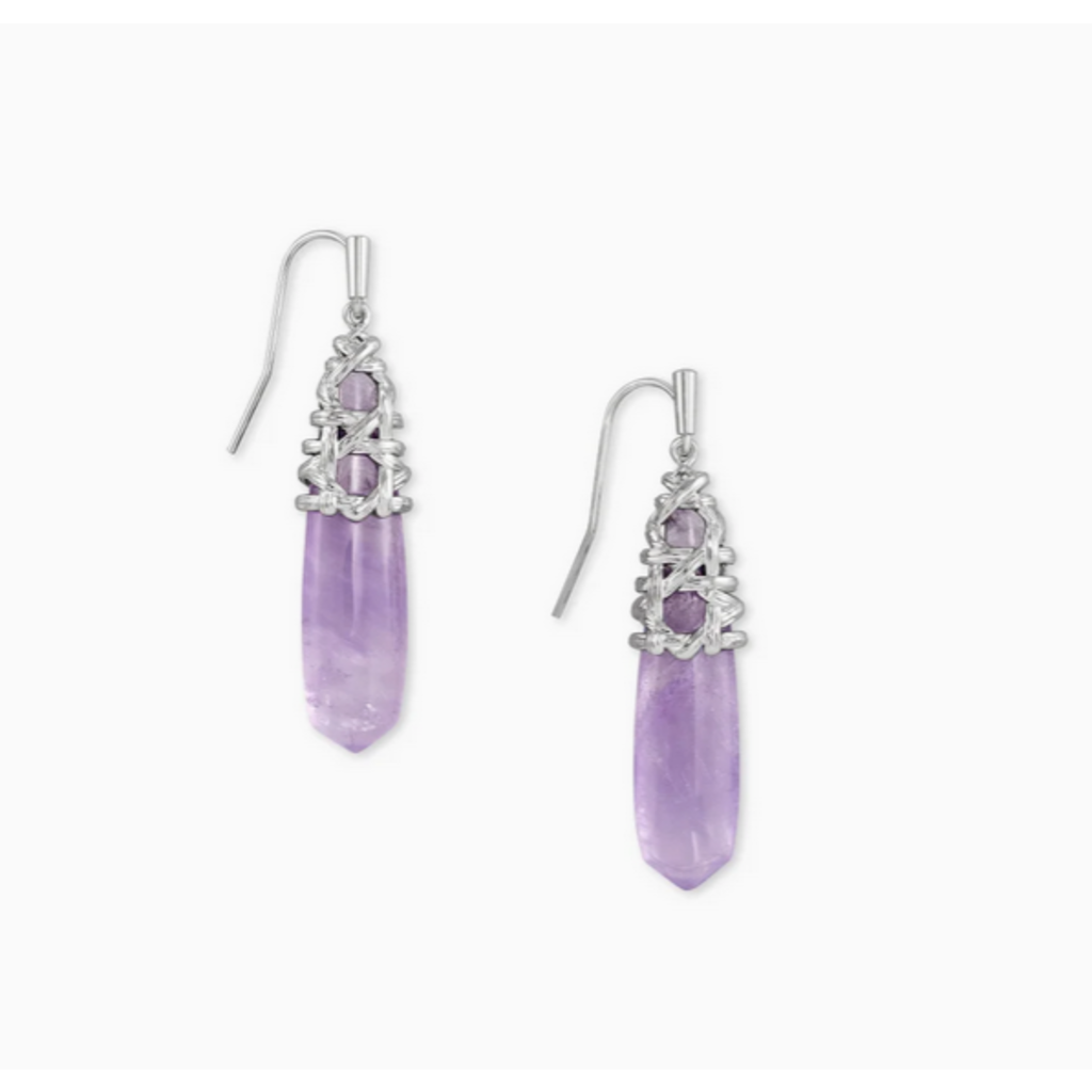 Kendra Scott Kendra Scott Natalie Drop Earring in  Silver Purple Amethyst