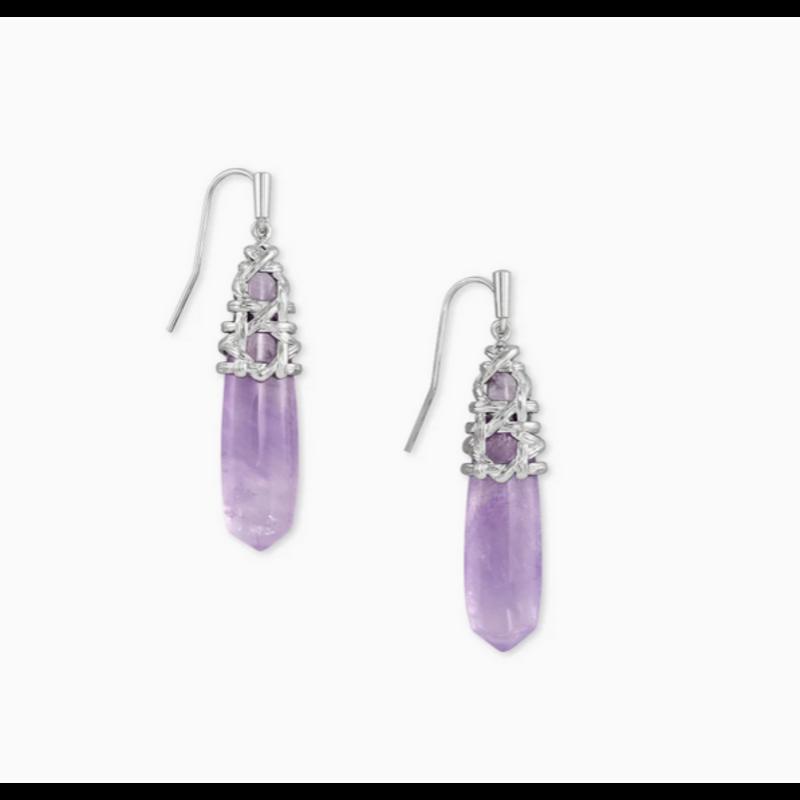 Kendra Scott Natalie Drop Earring in Silver Purple Amethyst