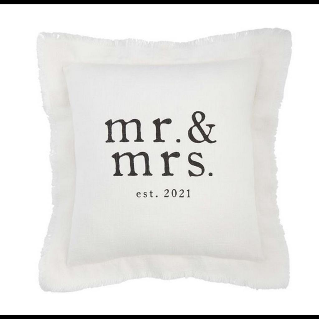 Mud Pie Mud Pie Square Mr. & Mrs Est 2021 Pillow