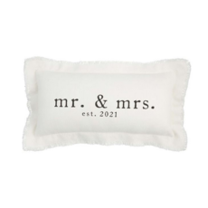 Mud Pie Mud Pie Mr. & Mrs. Rect. 2021 Est Pillow