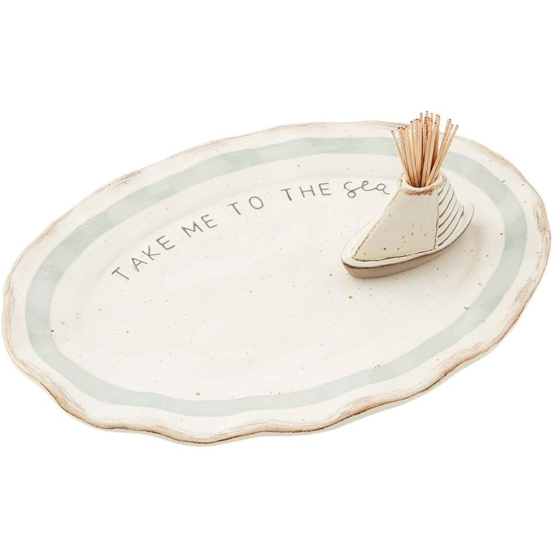 Mud Pie Sea Toothpick & Plate Set