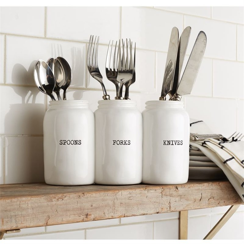 Mud Pie Triple Ceramic Jar Utensil Holder