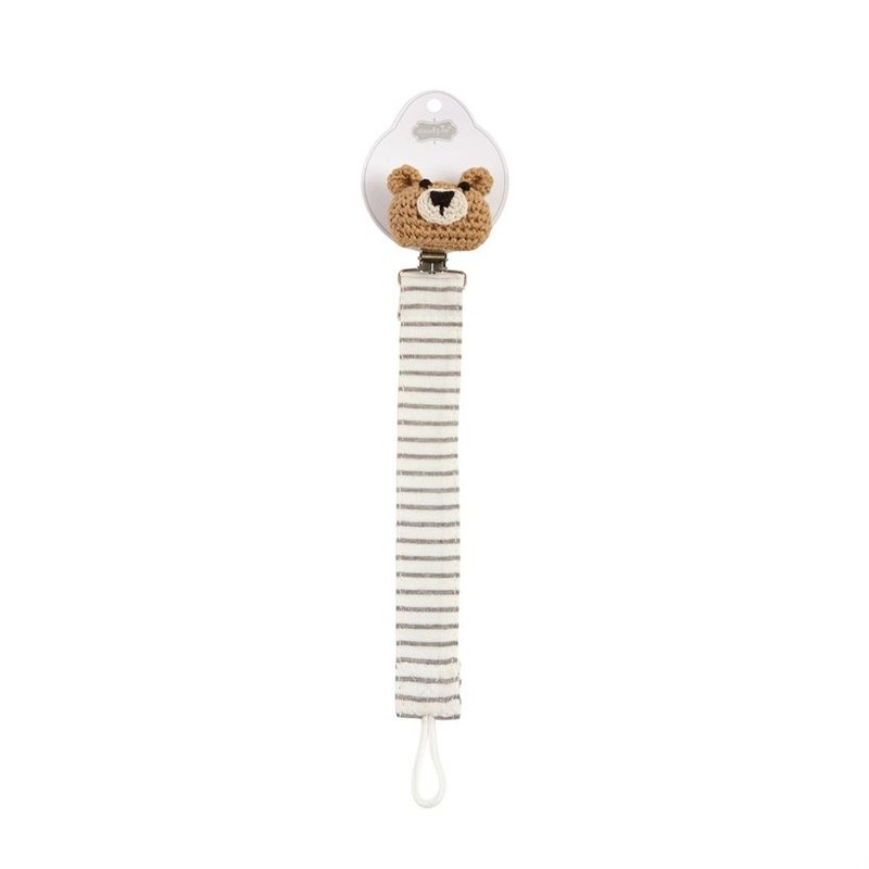 Mud Pie Bear Knit Pacy Clip