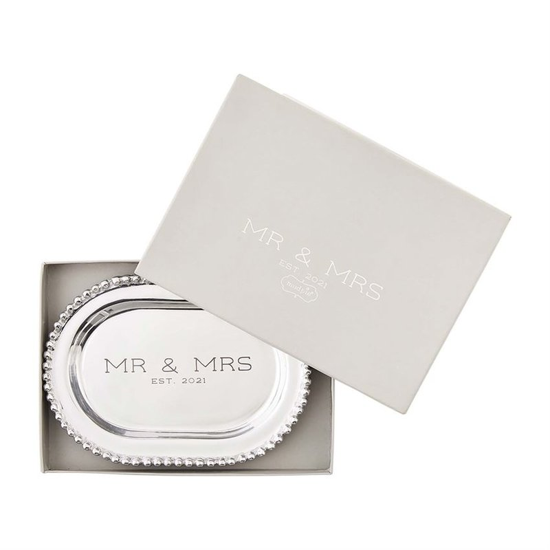 Mud Pie Mr. & Mrs. Beaded Metal Platter