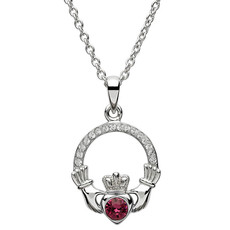 ShanOre ShanOre Claddagh Birthstone February Pendant Adorned with Swarovski Crystal