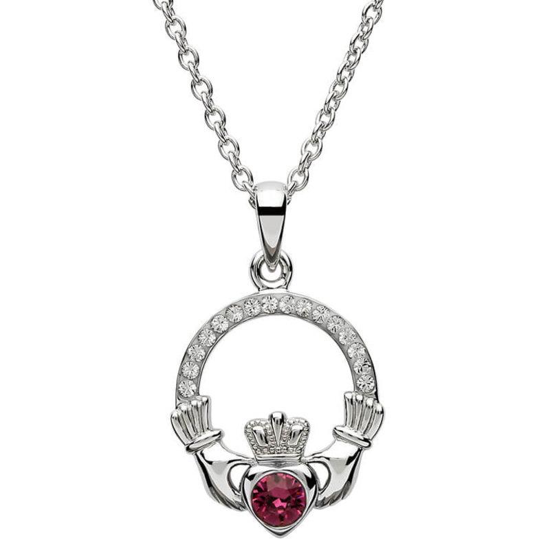 ShanOre Claddagh Birthstone February Pendant Adorned with Swarovski Crystal