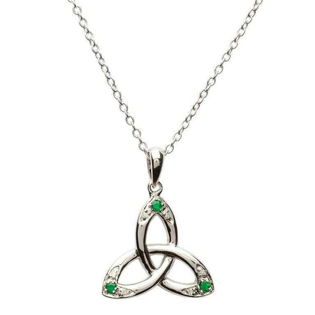 ShanOre ShanOre Celtic Trinity Knot Necklace Set with Emerald and Diamond