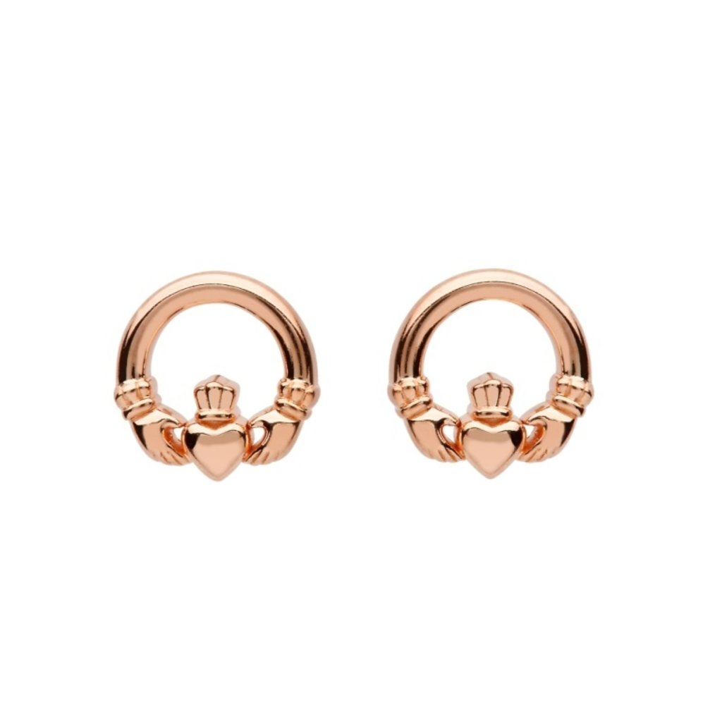 ShanOre ShanOre Sterling Silver Claddagh Rose Gold Plated Stud Earrings