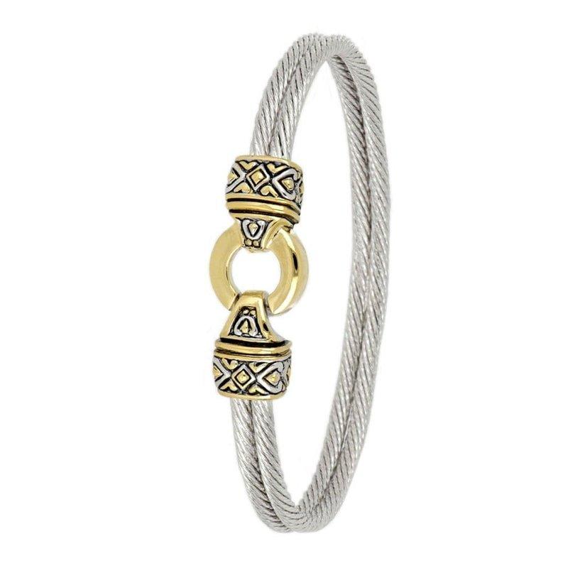 "John Medeiros Antiqua Gold Circle Double Wire Bracelet - 7"""