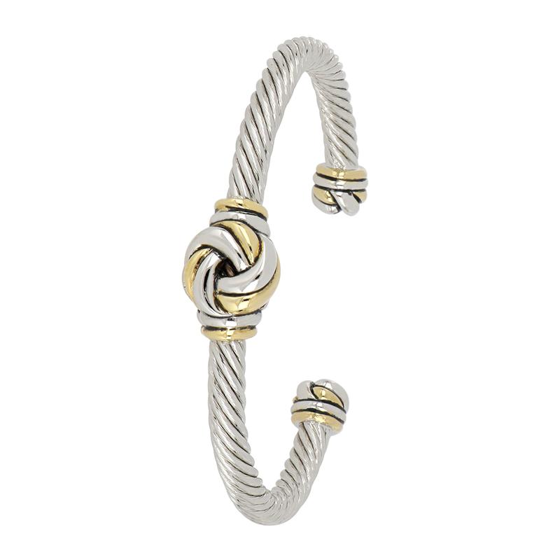 John Medeiros Infinity Knot Two Tone Center Wire Cuff Bracelet