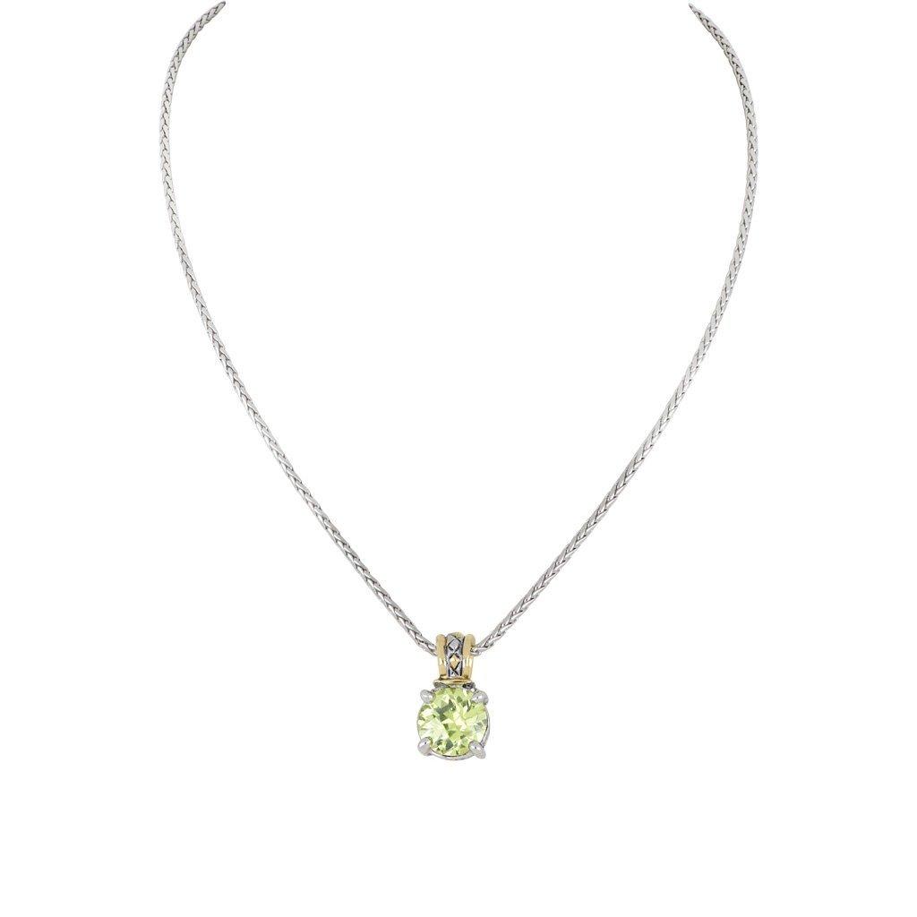John Medeiros John Medeiros - Beijos Cor 10mm Round Cut Pendant Necklace - Peridot
