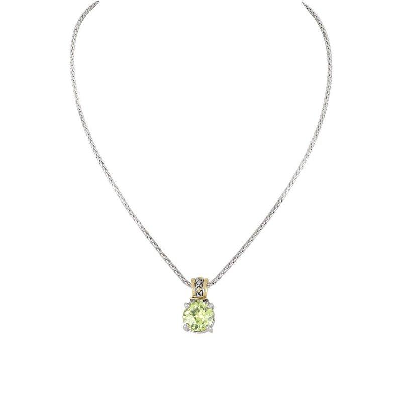 John Medeiros Beijos Cor 10mm Round Cut Pendant Necklace - Peridot