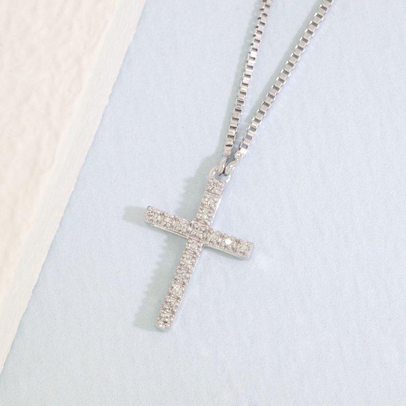Ella Stein Believe Cross Necklace .04 Diamond Weight - Silver