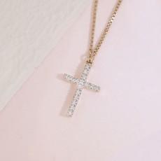 Ella Stein Ella Stein Believe Cross Necklace .04 Diamond Weight - Gold