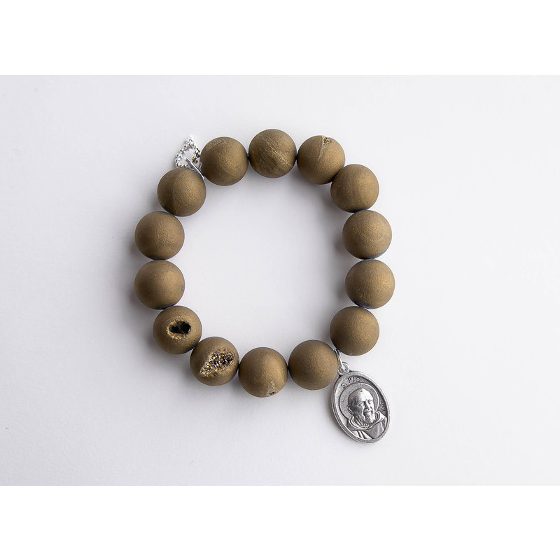 PowerBeads by Jen Bronze druzy agate paired with an oval Padre Pio