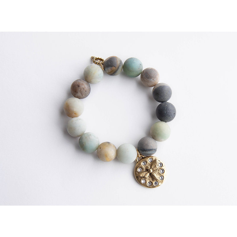 PowerBeads by Jen Matte amazonite paired with crystal surround queen bee