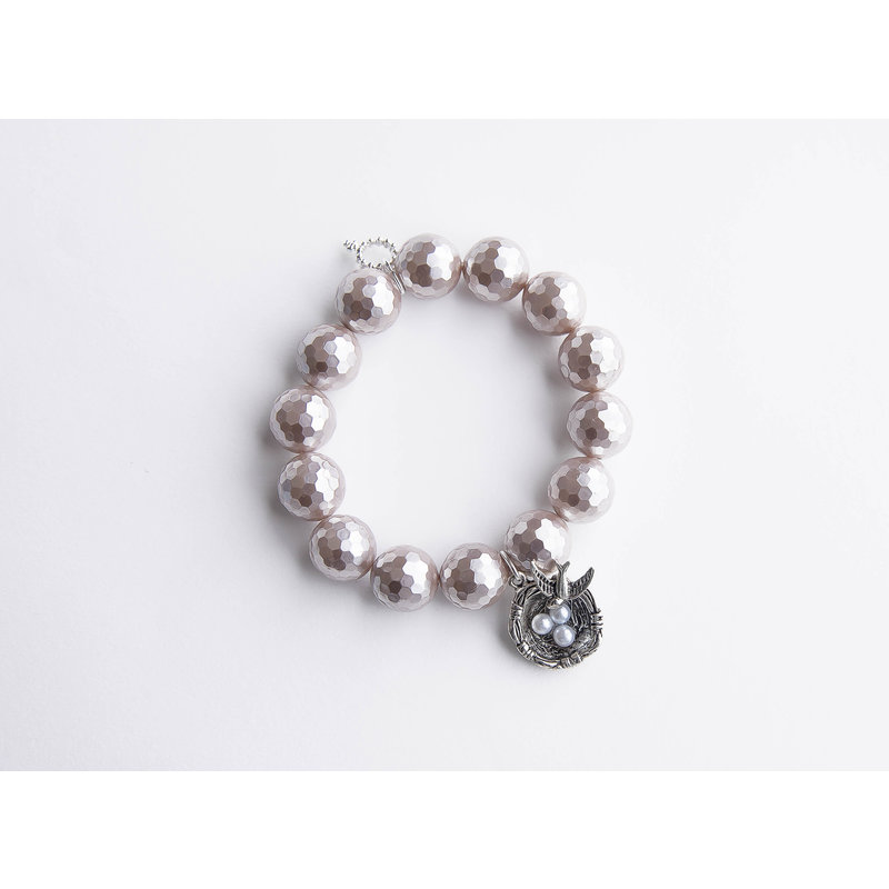 PowerBeads by Jen Faceted Mother of Pearl paired with a silver birds nest