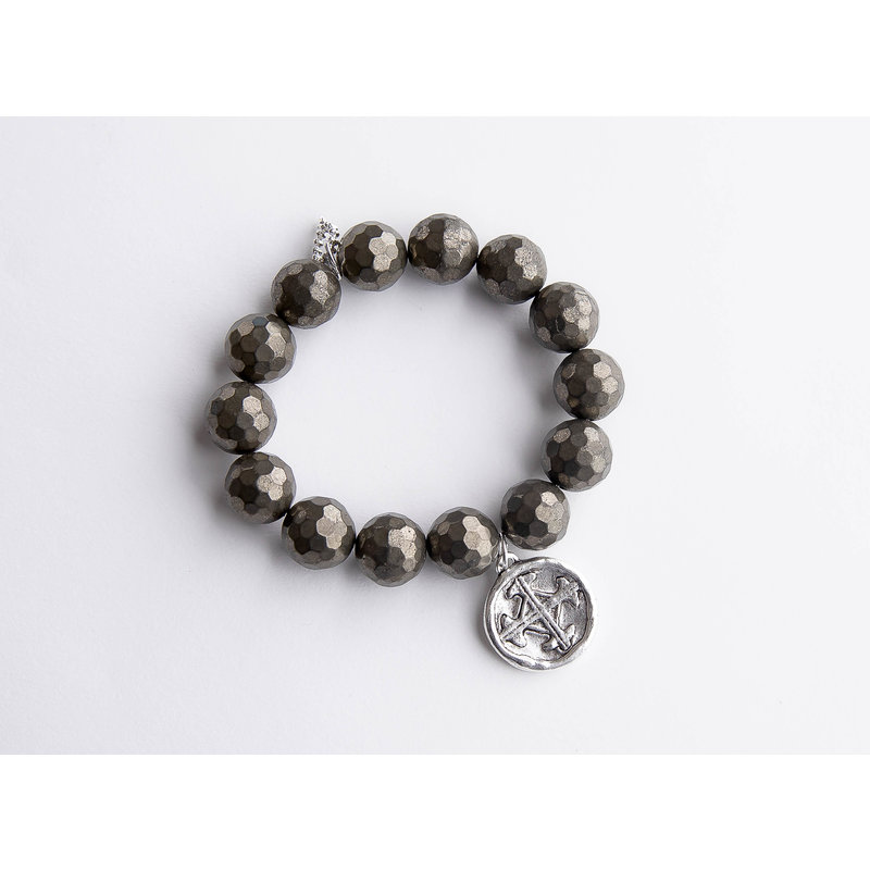 PowerBeads by Jen Faceted matte pyrite paired with a silver serenity prayer