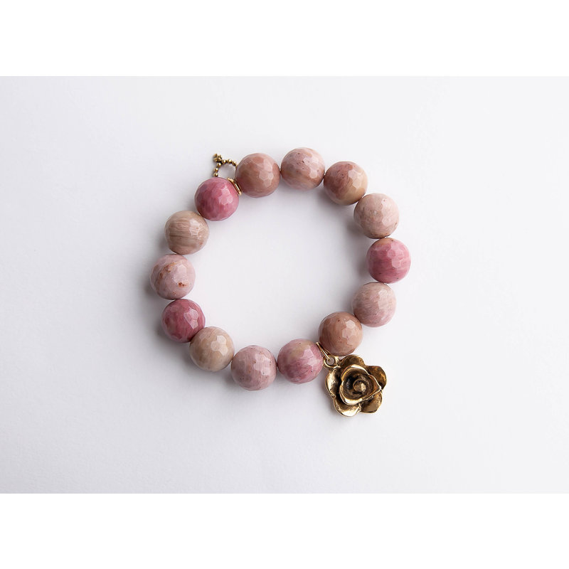 PowerBeads by Jen Faceted rhodochrisite paired with gold artisan flower