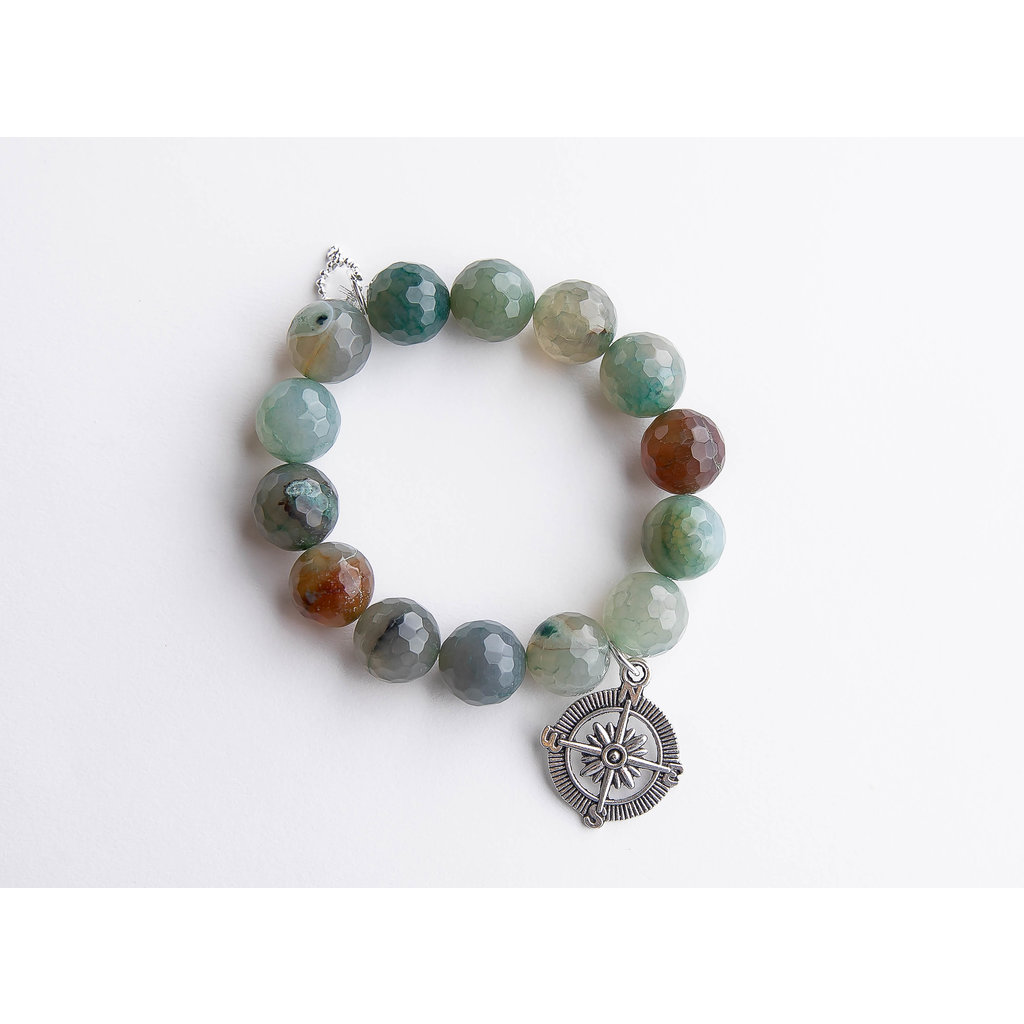 PowerBeads by Jen Faceted eucalyptus agate paired with a silver compass