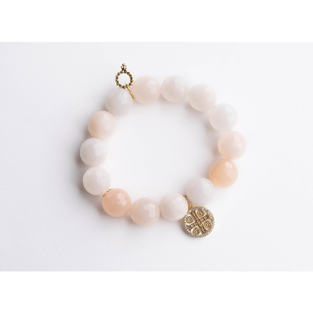 PowerBeads by Jen PowerBeads by Jen Faceted pink aventurine paired with mother of pearl St. Benedict