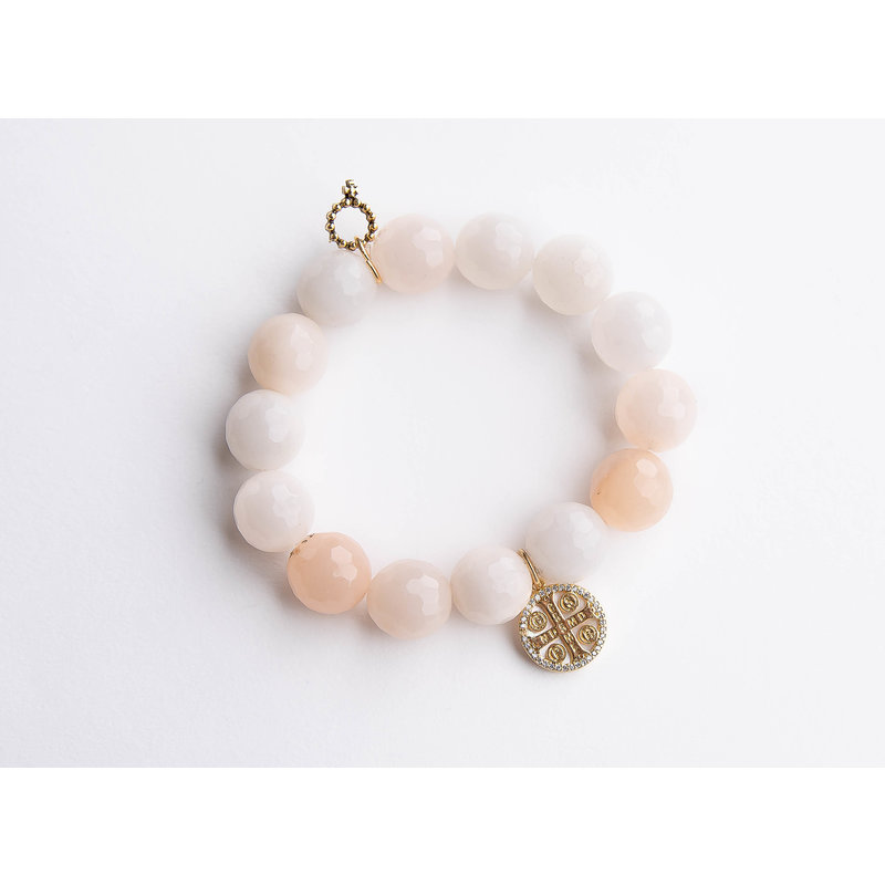 PowerBeads by Jen Faceted pink aventurine paired with mother of pearl St. Benedict