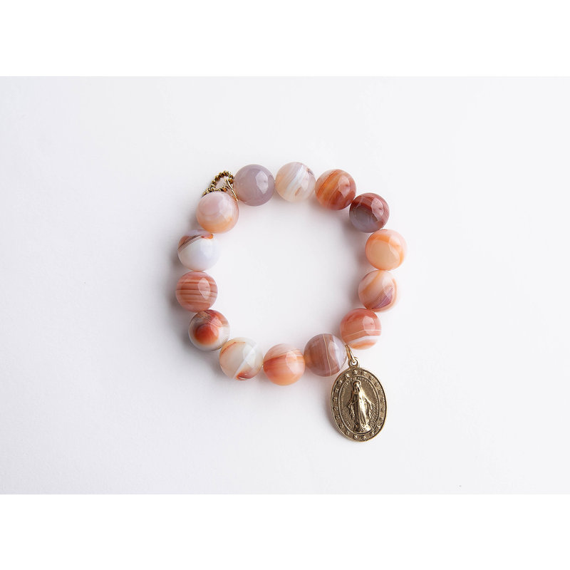 PowerBeads by Jen Sanibel agate paired with a gold Miraculous medal