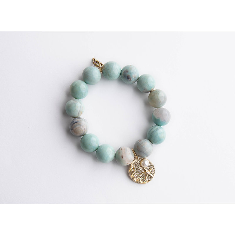PowerBeads by Jen Sea foam agate paired with brushed bronze jewel of the sea