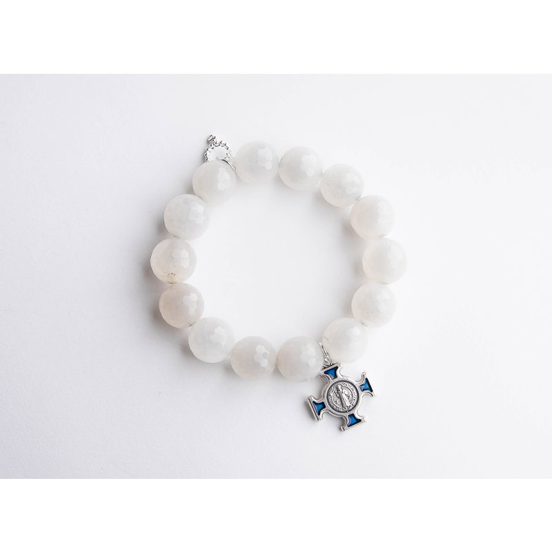 PowerBeads by Jen Matte white lace agate paired with a blue enameled Saint Benedict cross