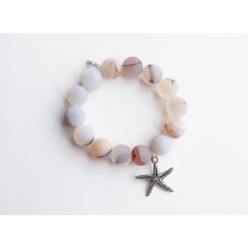 PowerBeads by Jen Matte cobblestone agate paired with a silver starfish