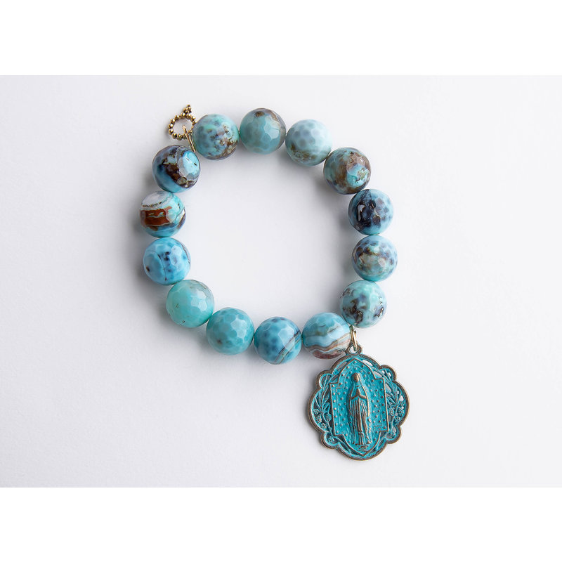 PowerBeads by Jen Faceted ocean reef agate paired with a patina Queen of Heaven