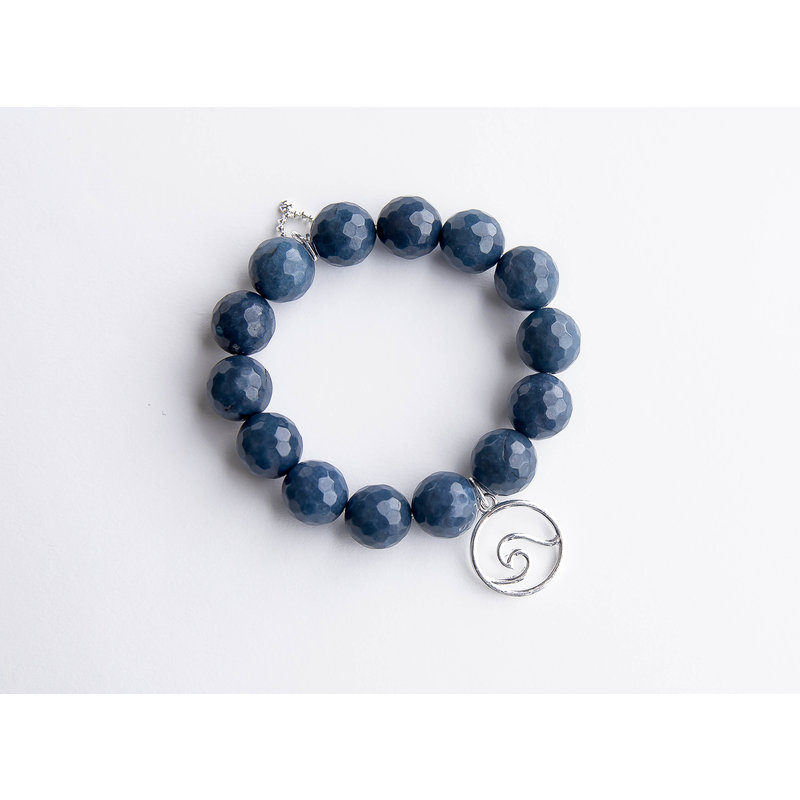 PowerBeads by Jen Washed denim agate paired with a silver wave