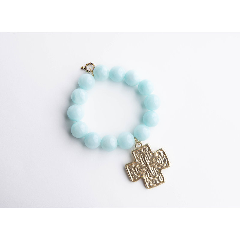 PowerBeads by Jen Aqua jade paired with a large brushed gold cross