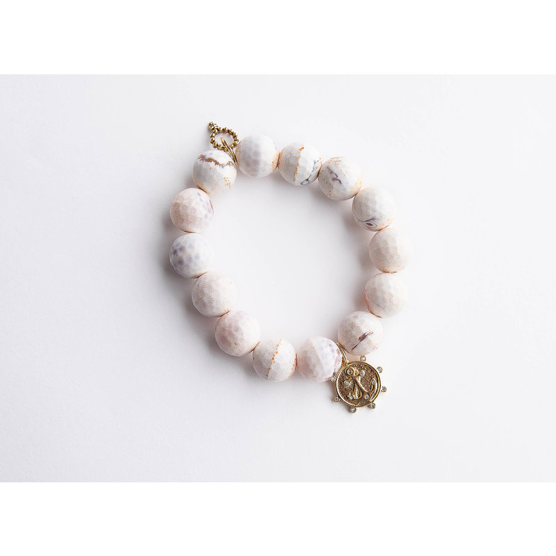 PowerBeads by Jen Honeycomb agate paired with a crystal surround anchor
