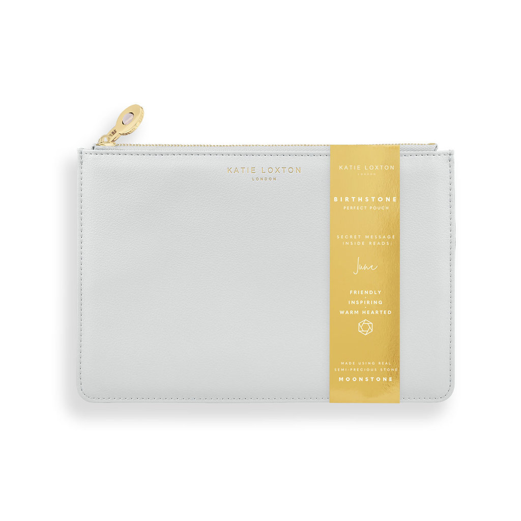 Katie Loxton Birthstone Perfect Pouch - June Moonstone - Pale Gray
