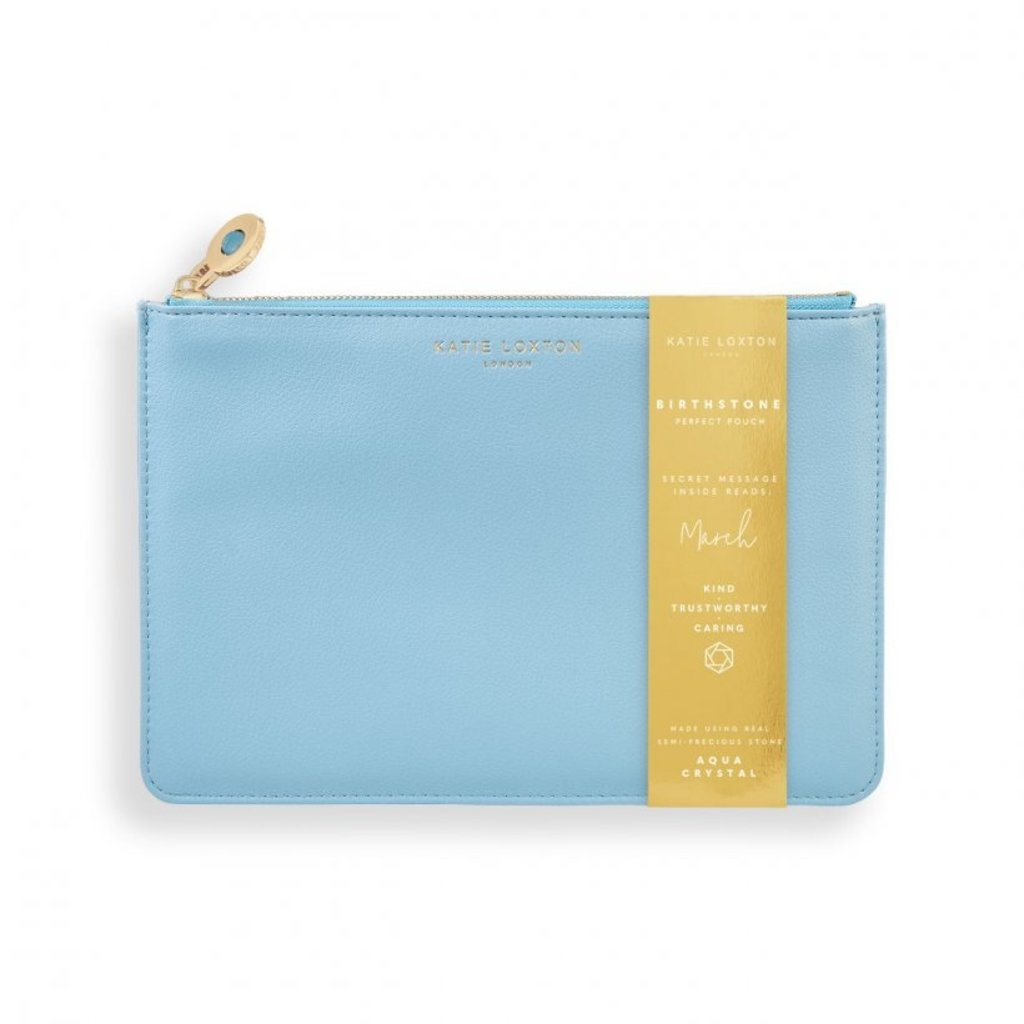 Katie Loxton Birthstone Perfect Pouch - March Aqua Crystal - Blue