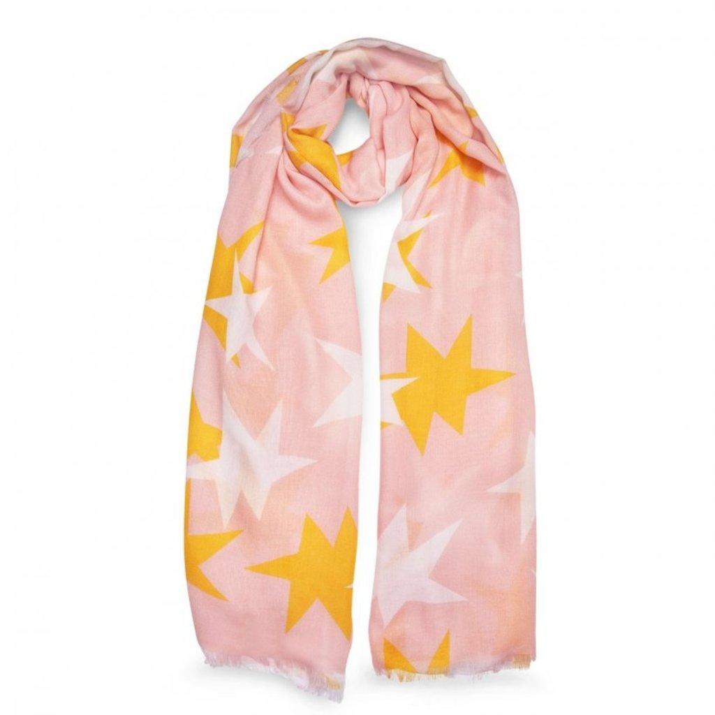 Katie Loxton Printed Scarf -  Large Star Print - Blush Pink