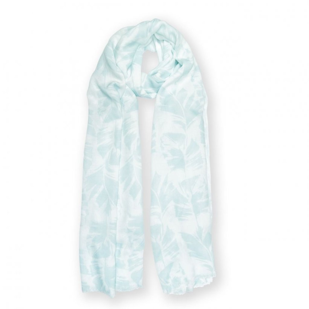 Katie Loxton Printed Scarf - Palm Leaf Print - White and Green