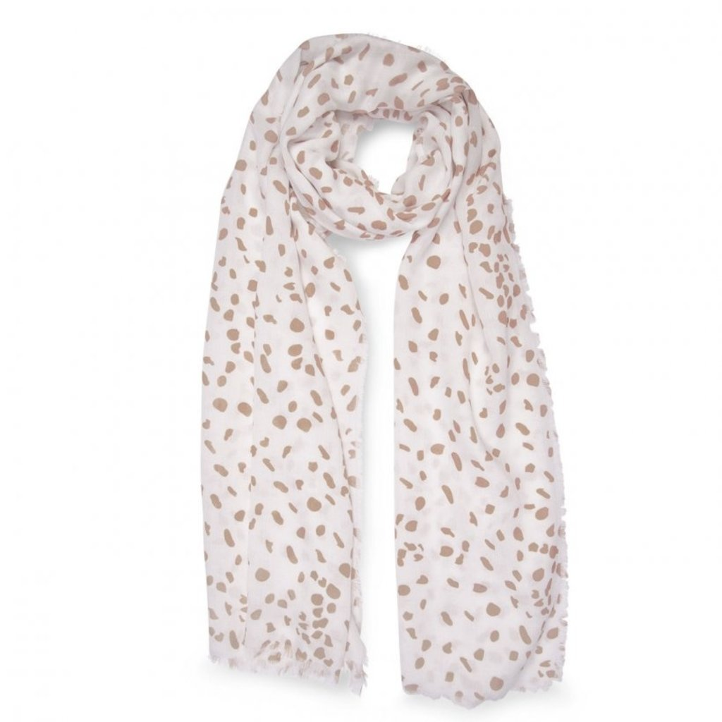 Katie Loxton Printed Scarf - Leopard Print - White and Taupe